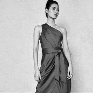 {reiss} silk one-shoulder drape bubble dress